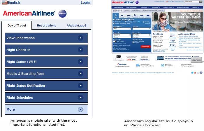 American Airlines mobile & regular sites