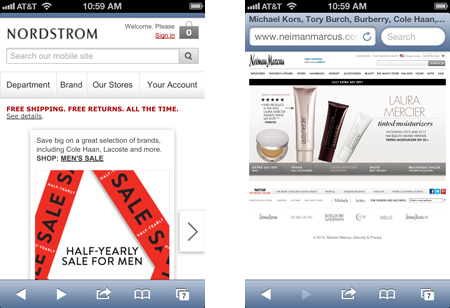 Mobile rendering of Nordstrom & Nieman Marcus web sites