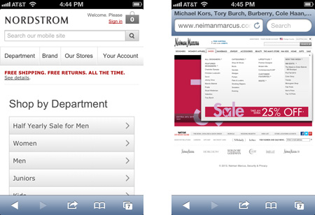 Mobile rendering of Nordstrom & Nieman Marcus websites