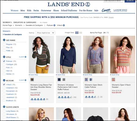 Lands' End Category Page