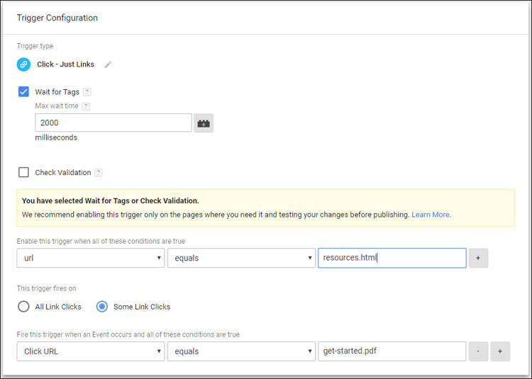 Google Tag Manager configuration for Trigger for clicking on a specific link on a specific page