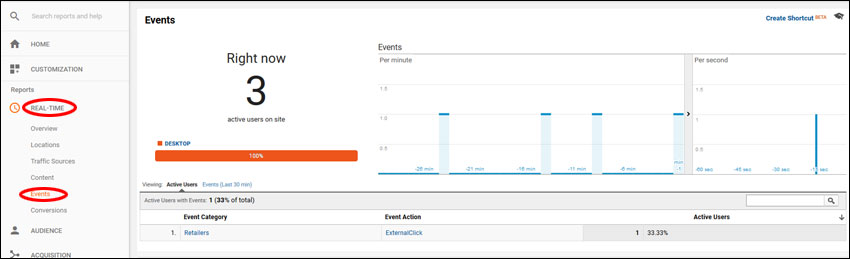 Google Analytics Real-Time report showing events
