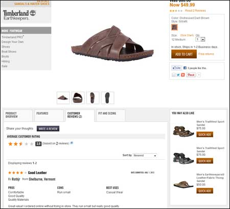 Timberland Product Page with Reviews