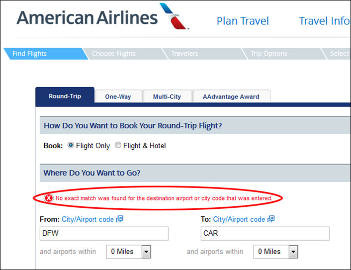 American Airlines site showing a message alerting user to problems in filling out the form