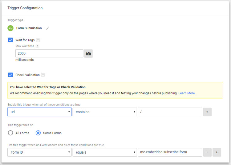 Trigger Setup for a MailChimp signup form submission in Google Tag Manager
