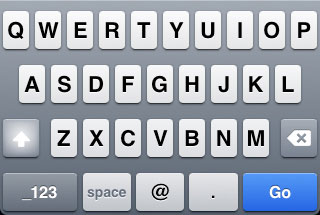 iPhone Email keyboard