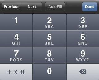 iPhone phone keypad