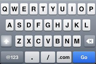 iPhone url keyboard