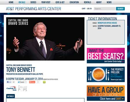Tony Bennett Concert detail page