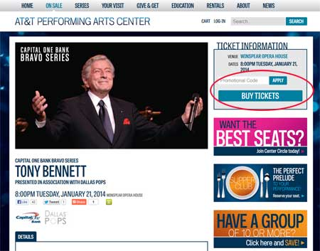 Tony Bennett Concert web site (second time)