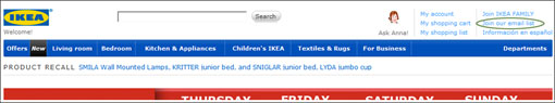 Ikea email sign up