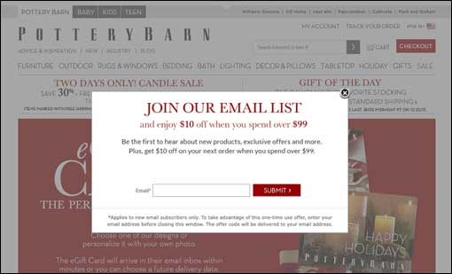 Pottery Barn email sign-up