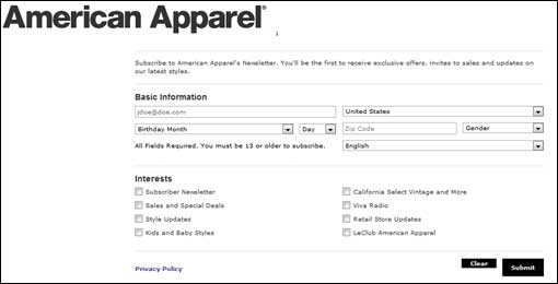 American Apparel email sign-up