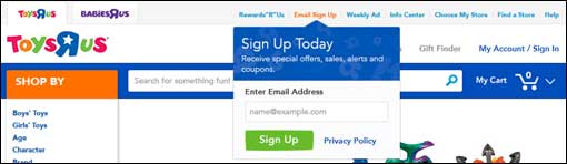 Toys R Us email sign-up