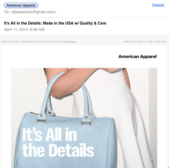 Email from American Apparel viewed on an iPad