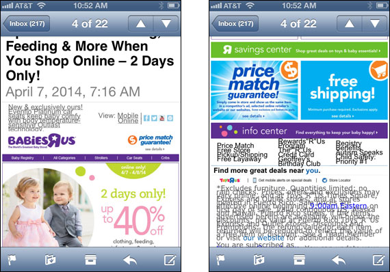 Top and bottom of email from BabiesRUs