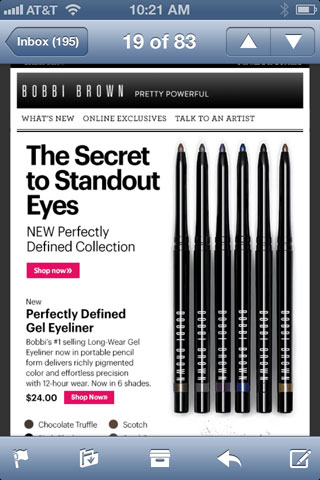 Email from Bobbi Brown as seen on an iPhone