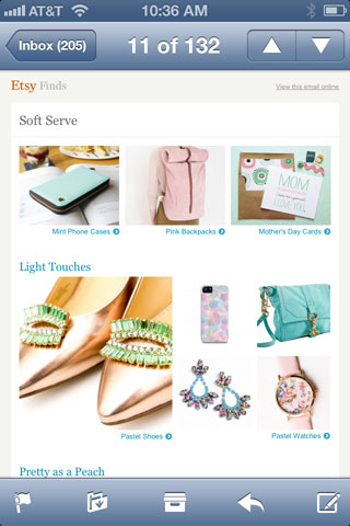 Email from Etsy viewed on an iPhone