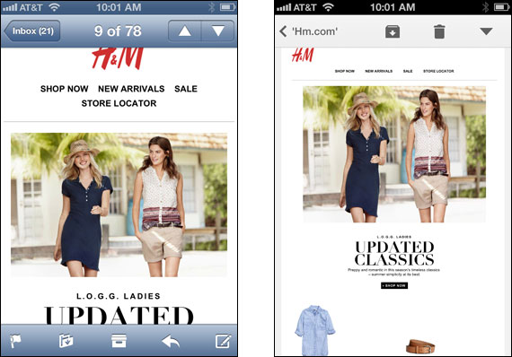 H&M email on mobile