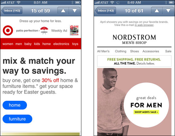 Responsive emails from Target & Nordstrom