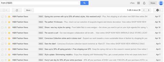 H&M Emails in inbox