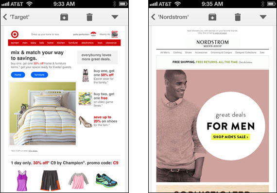 Target/Nordstrom emails in Gmail on iPhone