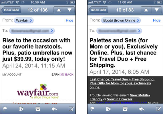 Emails from Wayfair & Bobbi Brown