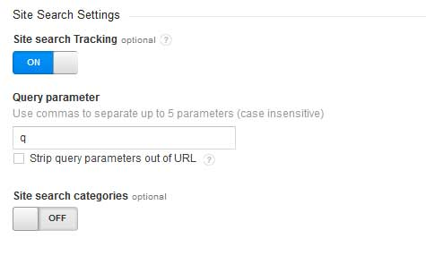 Site Search Configuration in Google Analytics