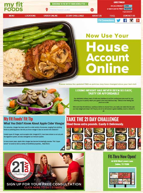 My Fit Foods Landing Page