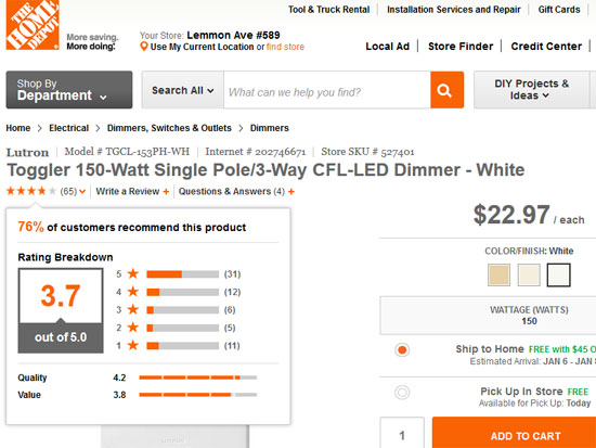Home Depot shows negative and positive product reviews