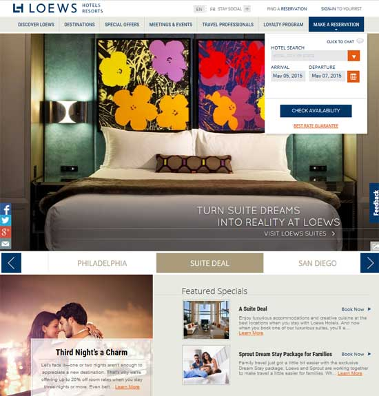 Loews Hotels Home page