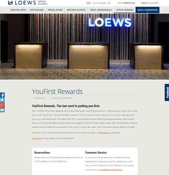 LoewsYouFirst Rewards program page