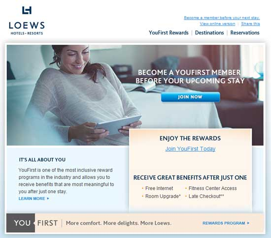 YouFirst email from Loews