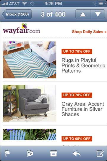 Wayfair Responsive Email (mobile)