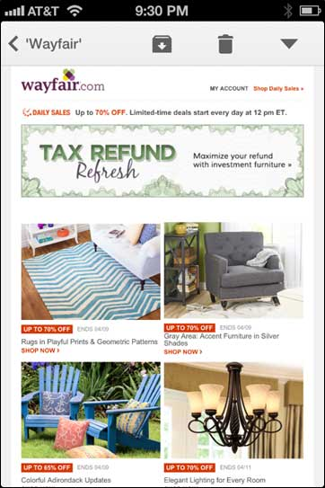 Wayfair Email in Non-responsive client