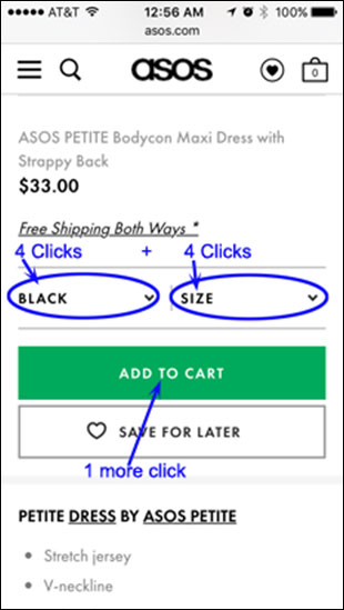ASOS add to Cart section